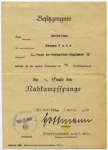 Werner Fuhr Nahkampfspange 1 Stufe