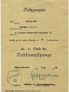 Werner Fuhr Nahkampfspange 2 Stufe
