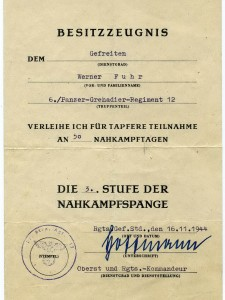 Werner Fuhr Nahkampfspange 3 Stufe